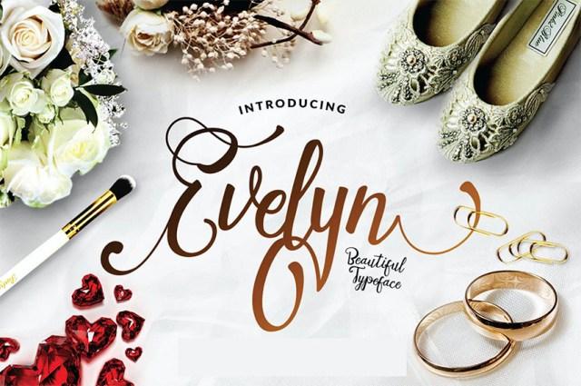 Evelyn - Phông chữ Wedding Script có đuôi