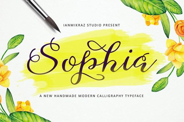 Sophia Phông chữ thảo có đuôi dài
