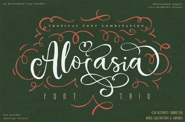 Phông chữ thư pháp Alocasia với dấu gạch chéo