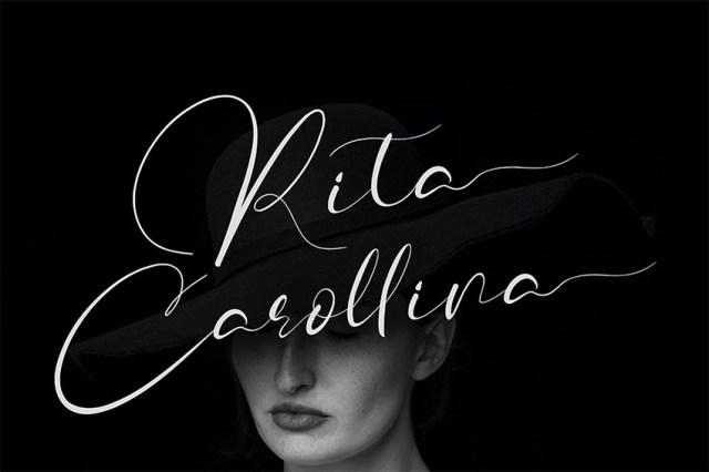 Phông chữ thư pháp Rita Carollina có dấu gạch chéo