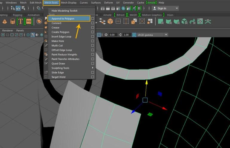 Mesh Tool  Append to Polygon tool