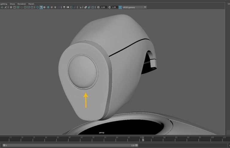 The top and front shape of the robo head is completed