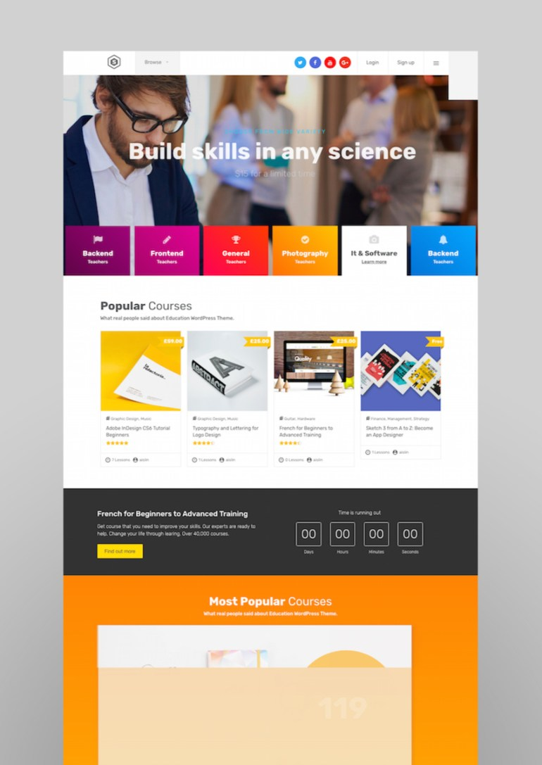 Skilled  School Education Courses WordPress Theme