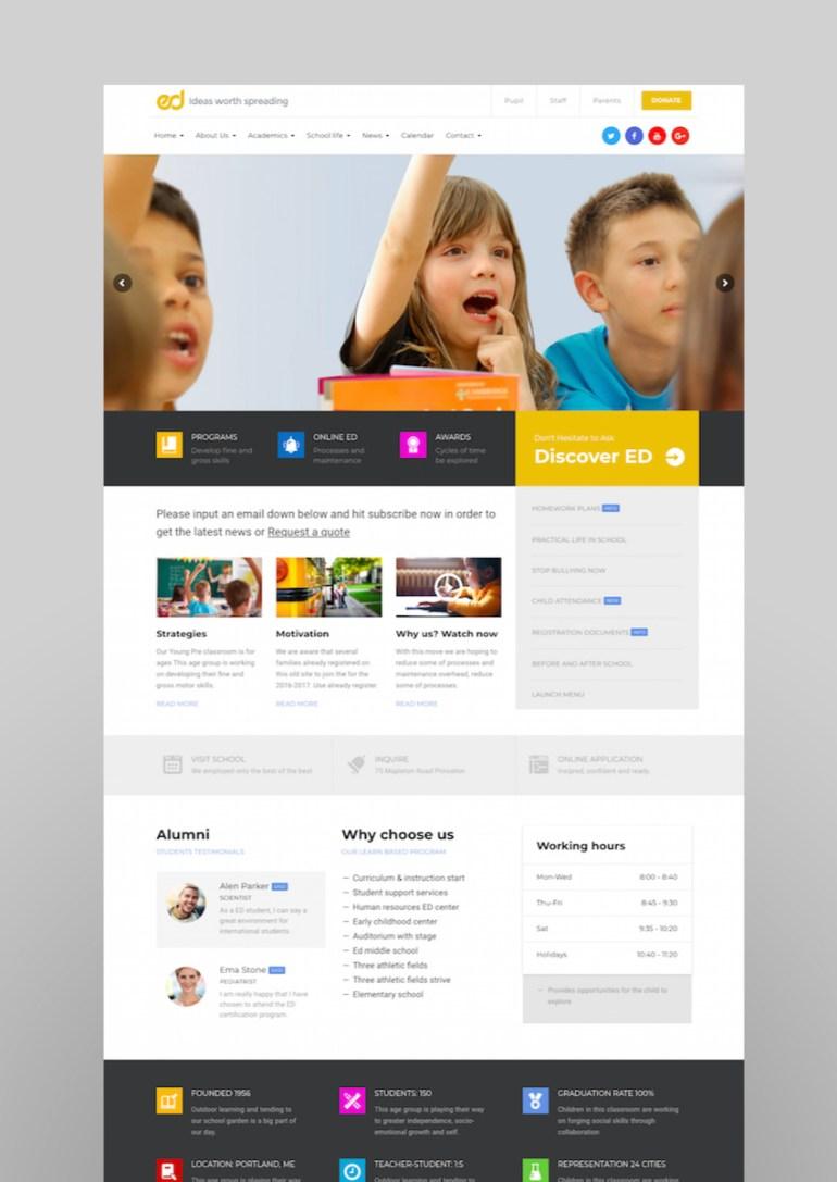 Ed School Education Elementary-High School WordPress Theme