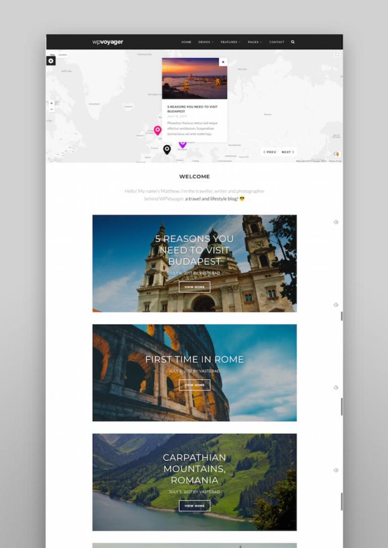 WPVoyager - Travel Blog WordPress Theme