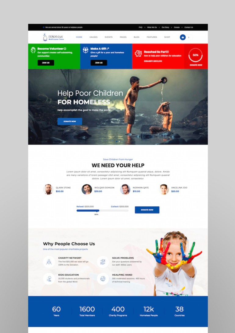 Denorious  Nonprofit and Political WordPress Theme