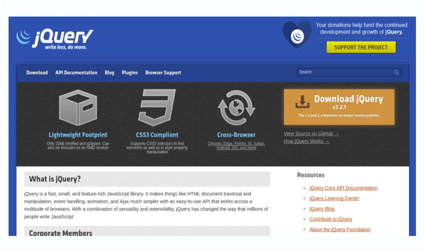 jQuery library for DOM manipulation using JavaScript