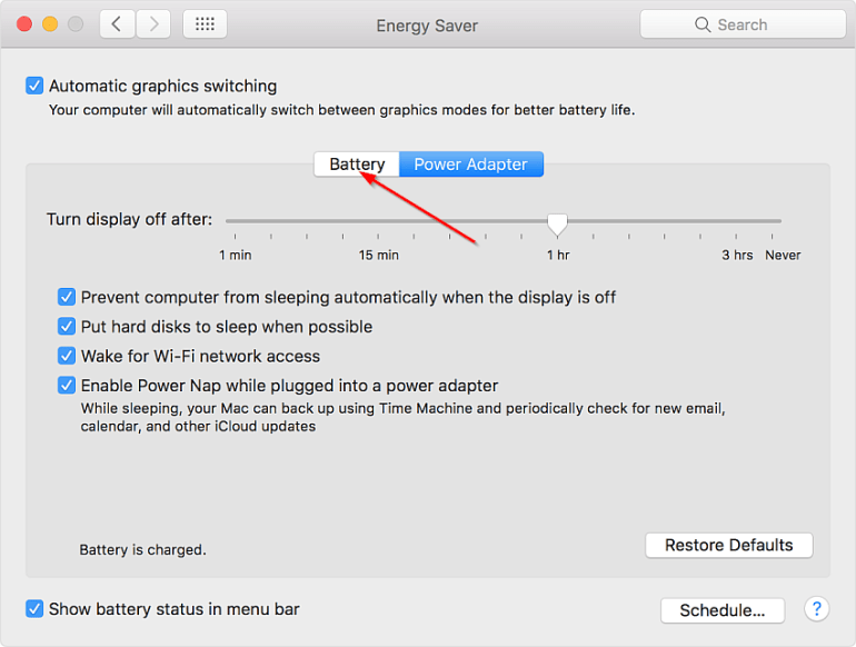 Energy Saver preference pane in Macbook Pro with macOS Sierra