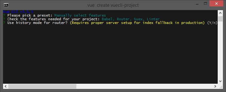 Create a project with Vue CLI Use history mode