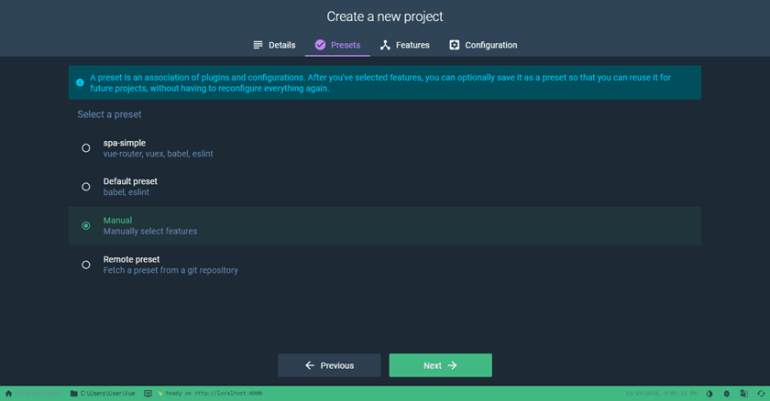 Create a new project with Vue UI Select a preset