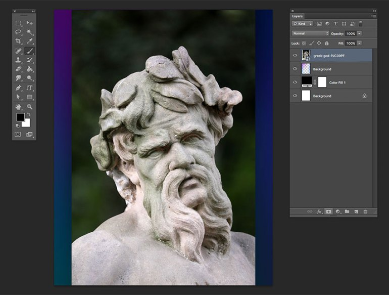 Drag the Greek God image onto the Photoshop file