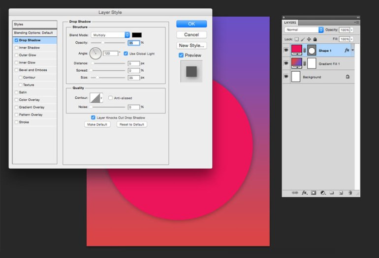 Add a drop shadow using the blending options
