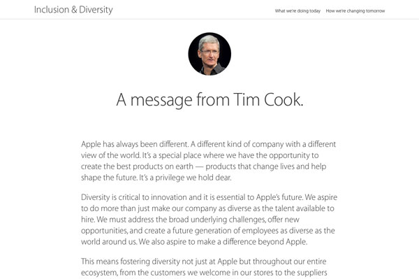 Apple diversity site - a message from Tim Cook