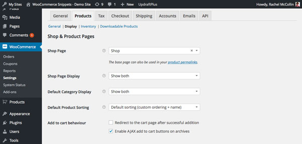 WooCommerce product display settings screen