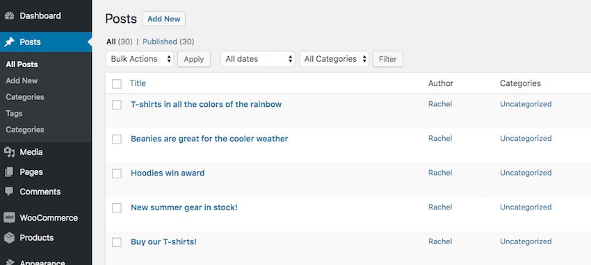 Two category taxonomies for posts