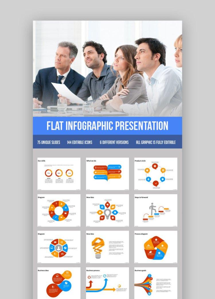 Tema di presentazione di PowerPoint Flat Infographic PPT