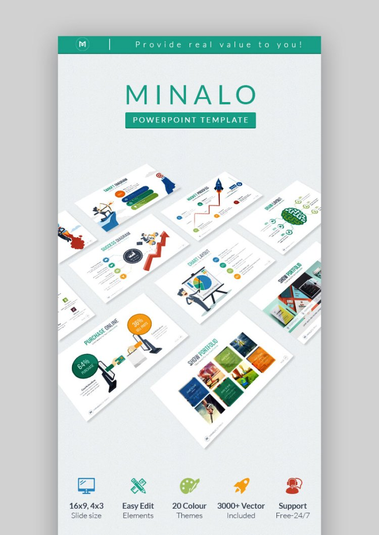 Tema PPT di Minalo Creative Business Graphic