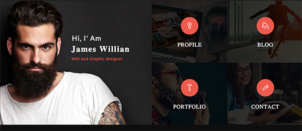 Tiled online resume website template