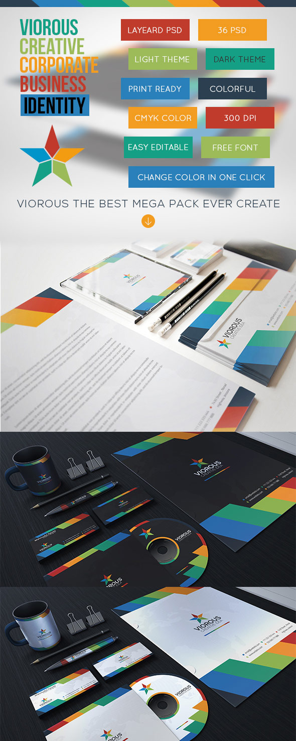Viorous Corporate Stationery Brand Identity
