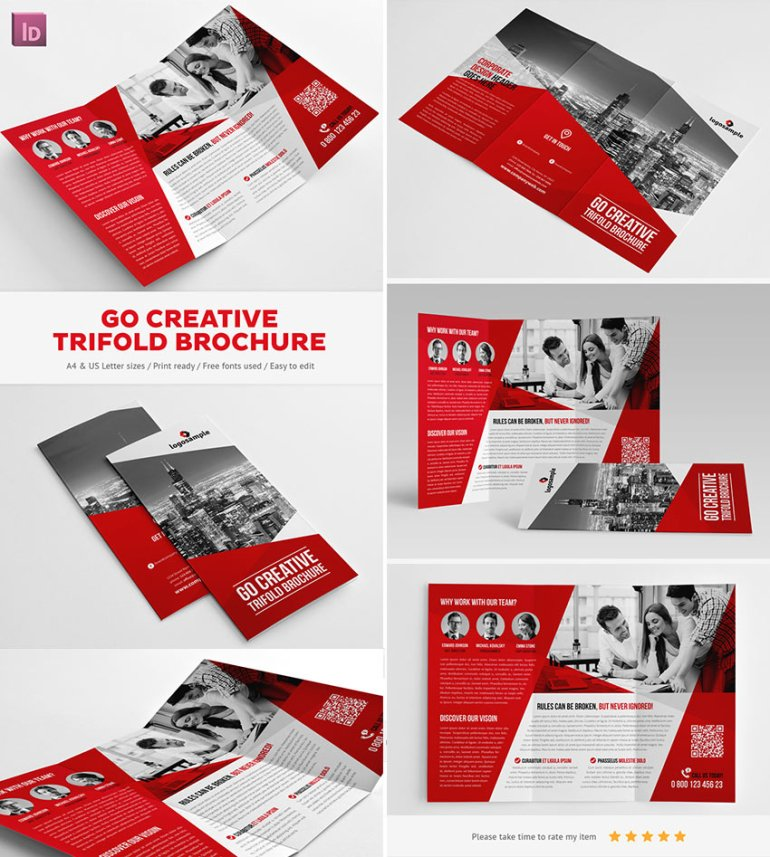 Go Creative InDesign Trifold Brochure