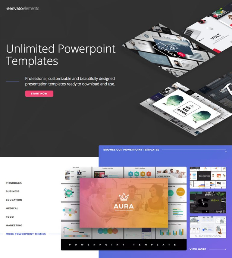 Creative PowerPoint templates on Envato Elements - with unlimited access