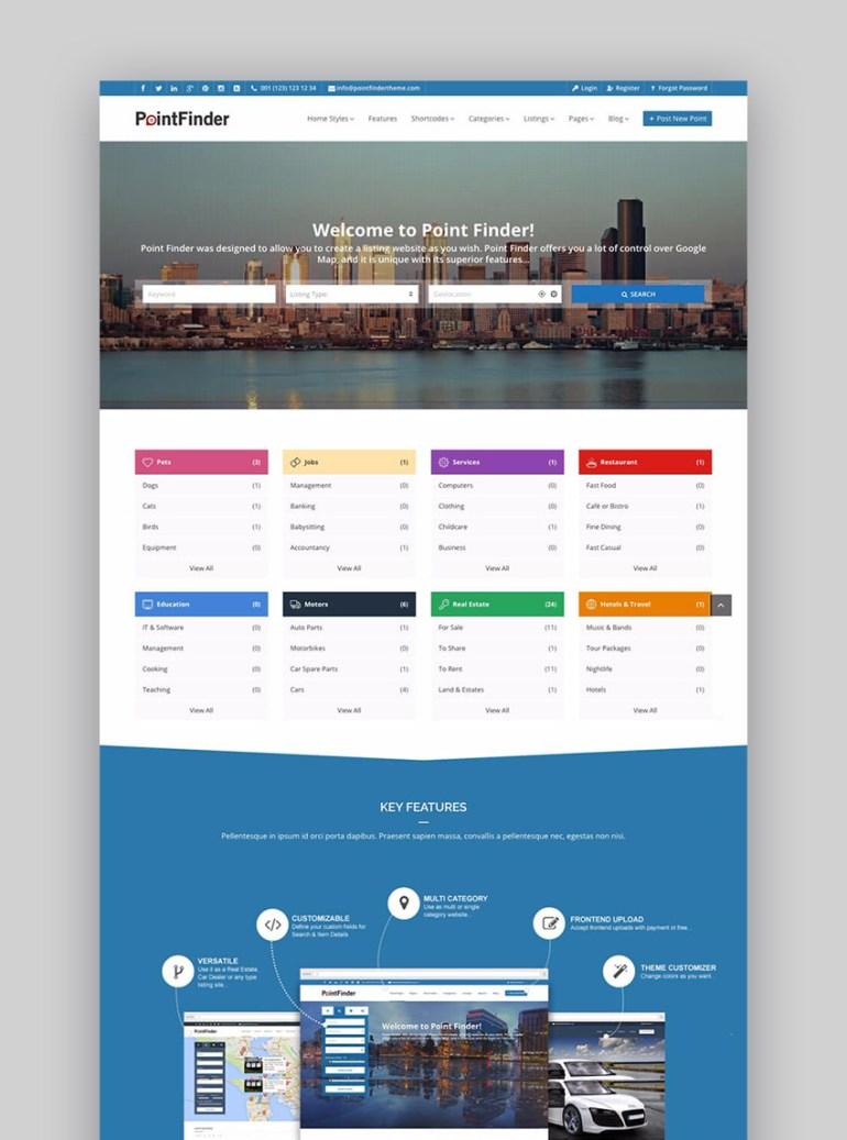 20 best wordpress directory themes to make business websites 2017 point finder business directory wordpress website template wajeb Gallery