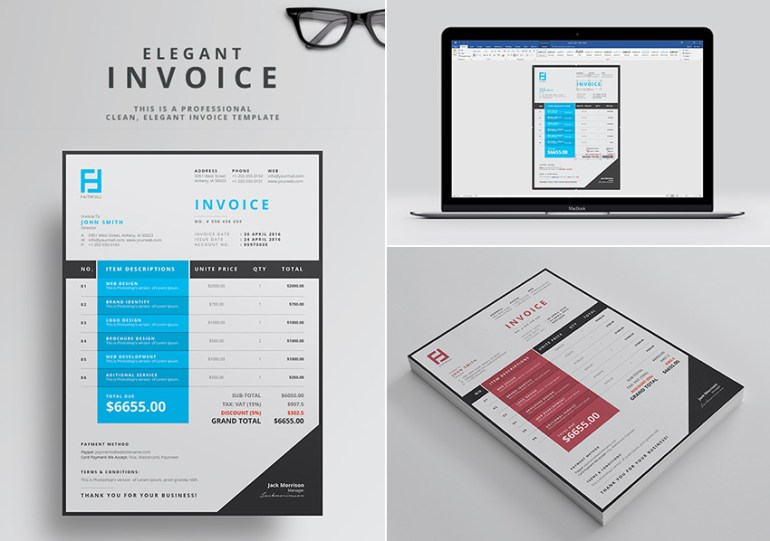 Elegant Word Invoice Template For Business Profesionals