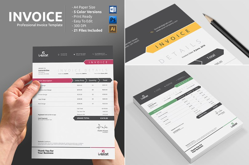 15 Simple Invoice Templates  Made For Microsoft Word Simple Professional Invoice Template Word Print Ready