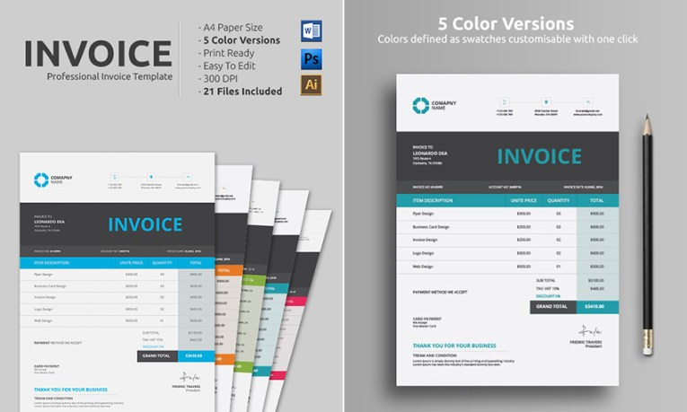15 Simple Invoice Templates  Made For Microsoft Word Clean Simple MS Word Doc Invoice Template