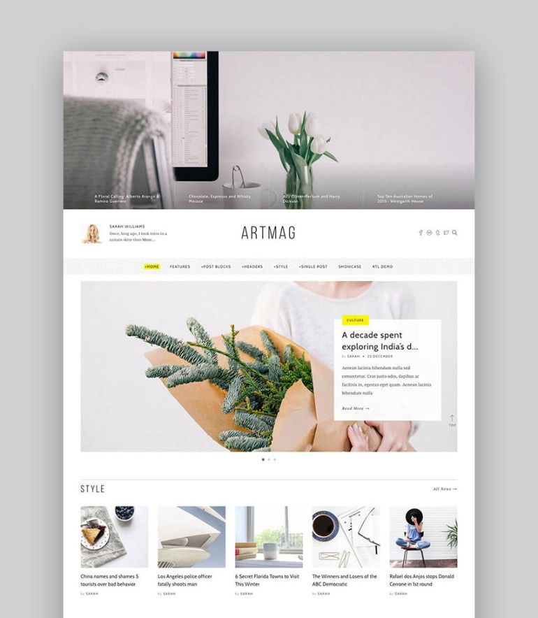 ArtMag Minimal WordPress Blog Writer Magazine Theme