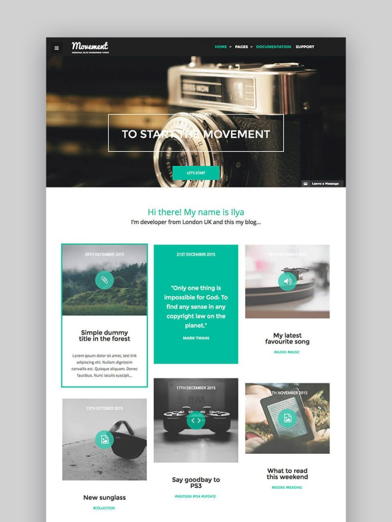 ovement Personal Blog WordPress Theme for Writers