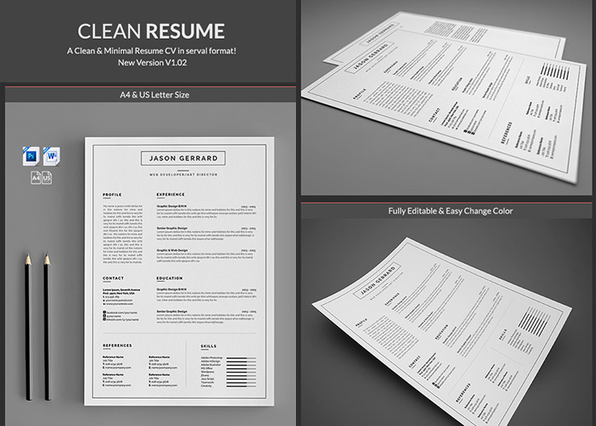 20  Professional MS Word Resume Templates With Simple Designs Minimal Simple Microsoft Word Resume Templates
