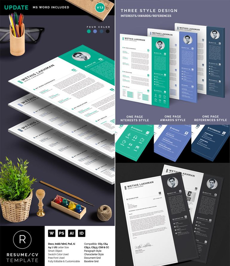 Professional Word Resume CV Template Set 3-Styles