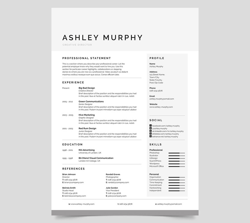 Marvelous 20 Professional Ms Word Resume Templates With Simple Designs In Simple Resume Design