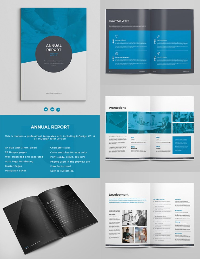 Bold Annual Report Template InDesign Design Set