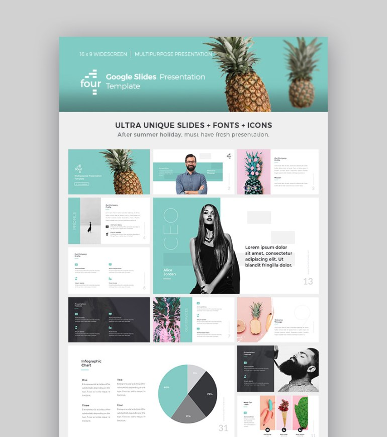 Four Cool Google Slides Presentation Theme