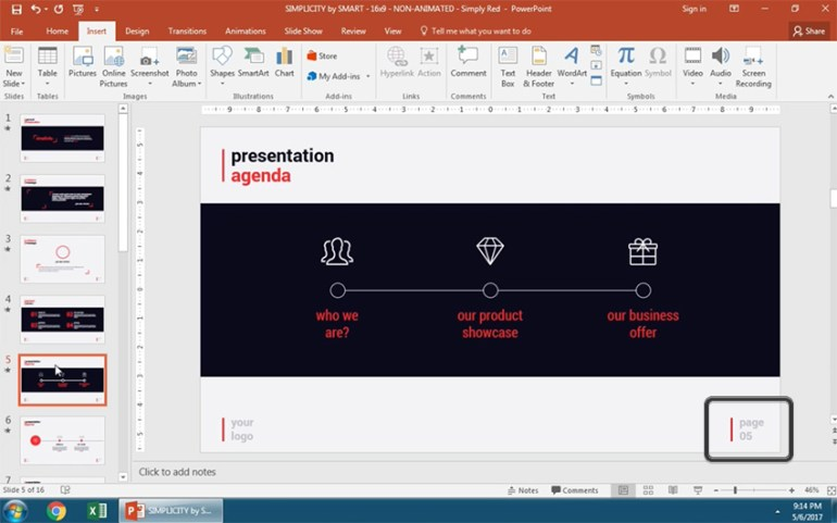 Page numbering applied to PowerPoint