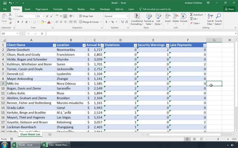Excel file with zero cells