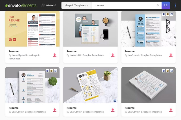 Envato Elements professional resume templates