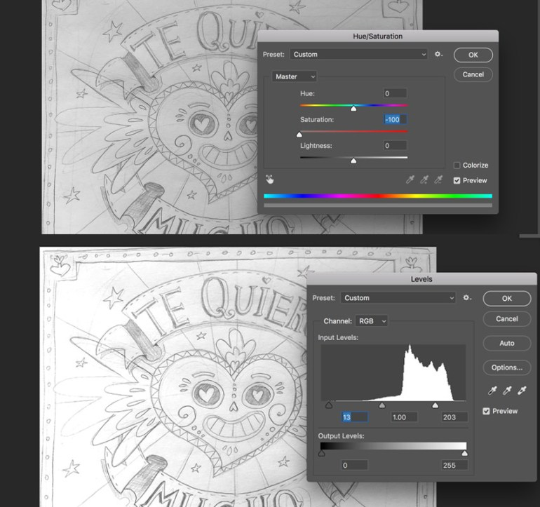 Preparing the sketch with HueSaturation and Levels Panels