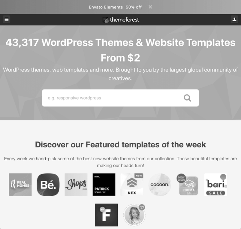 ThemeForest home page as seen by someone with Achromatopsia
