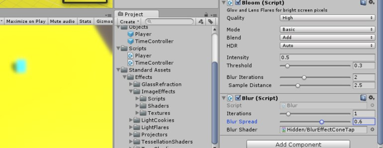 View of the effects-inspector in Unity 3D