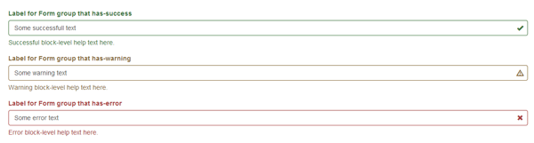 Label for Form group that has success warning error including feedback icons