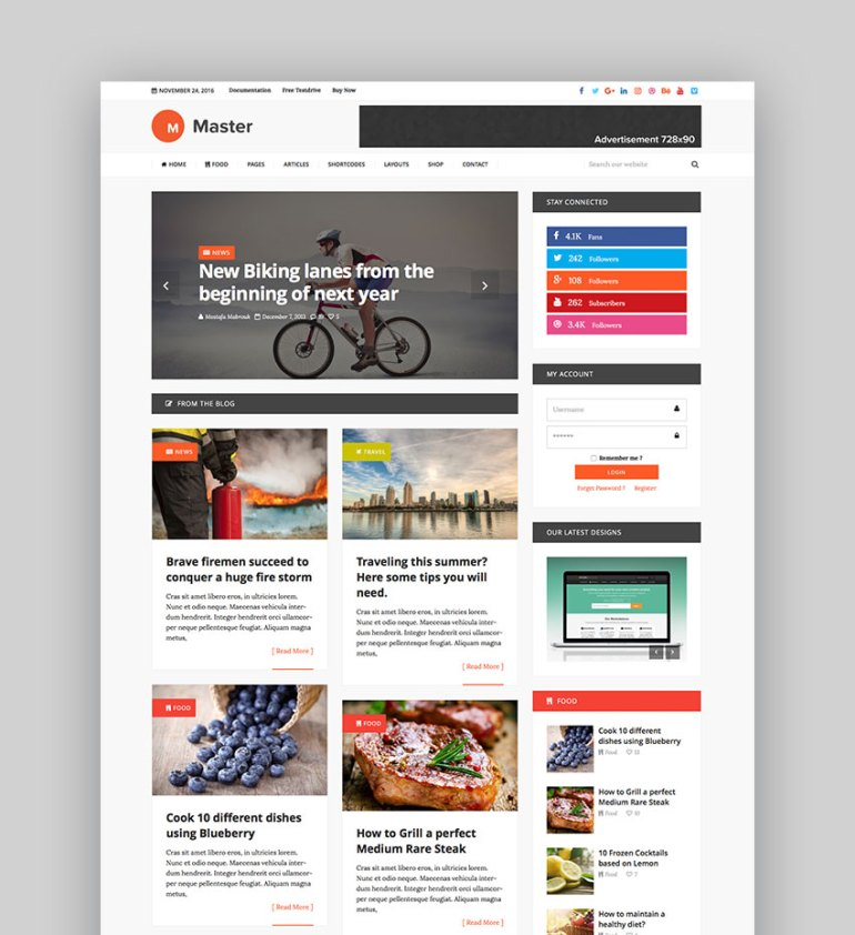 Master - Premium Blog  Magazine WordPress Theme