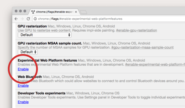 Experimental Web Platform features in Google Chrome