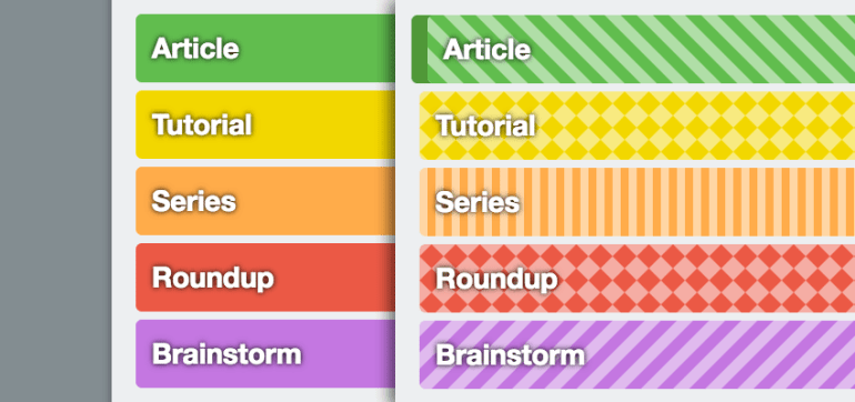 Without texture with texture color blind friendly labels on Trello