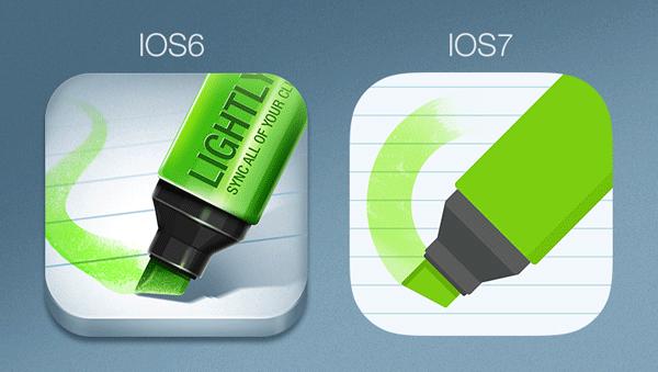 iOS 6 vs iOS7 icon