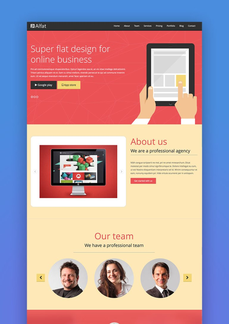 Alfat - Super Flat Landing Page WordPress Theme