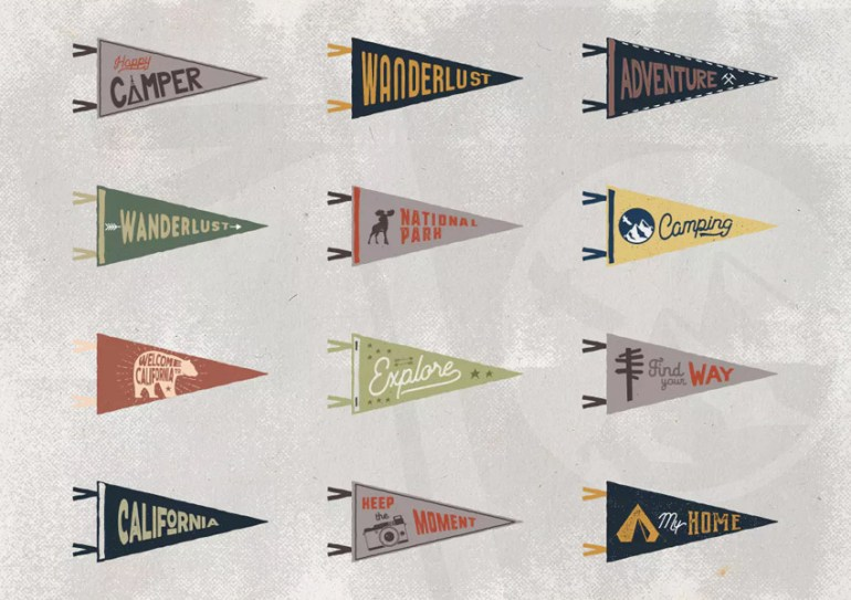 Vintage Pennants  Retro Icons Set  Part 2