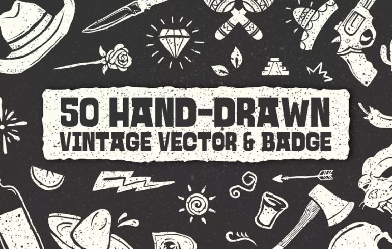 50 Hand-drawn Vintage Vector  Badge